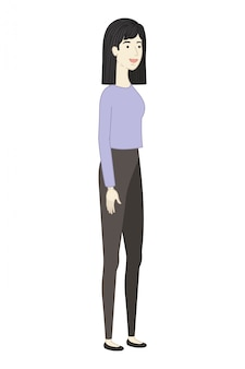 Jovem, mulher, ficar, avatar, personagem