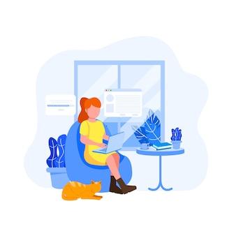 Jovem mulher freelancer ilustração plana