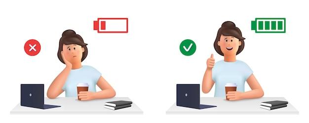 Jovem mulher jane - conceito de esgotamento. mulher cansada, sonolenta e feliz, enérgica mulher com bateria cheia e baixa energia trabalhando no computador no local de trabalho ... ilustração de personagem de pessoas em vetor 3d.