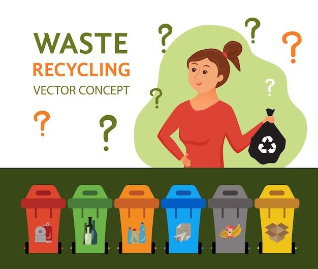 Jovem mulher jogando lixo em ilustração vetorial de recipientes. conceito de gestão de resíduos com menina ecológica classificando plástico em diferentes tanques. infográfico ecológico para salvar o design da terra