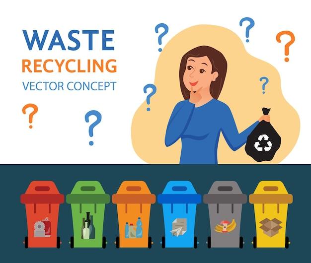 Jovem mulher jogando lixo em ilustração vetorial de recipientes. conceito de gestão de resíduos com menina ecológica classificando plástico em diferentes tanques.