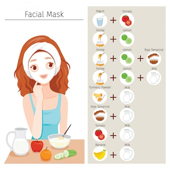 Jovem mulher mascarar o rosto com máscara facial natural com ícones conjunto de frutas e ingredientes para máscara facial