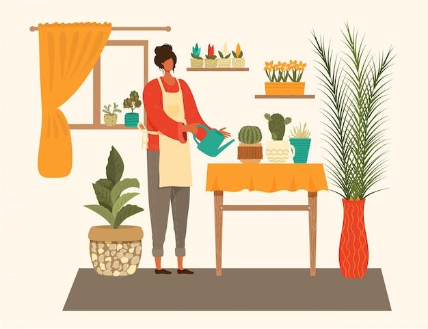 Jovem mulher molhando a composição de plantas de casa, cuidando de plantas de interior, ilustração dos desenhos animados de passatempo.