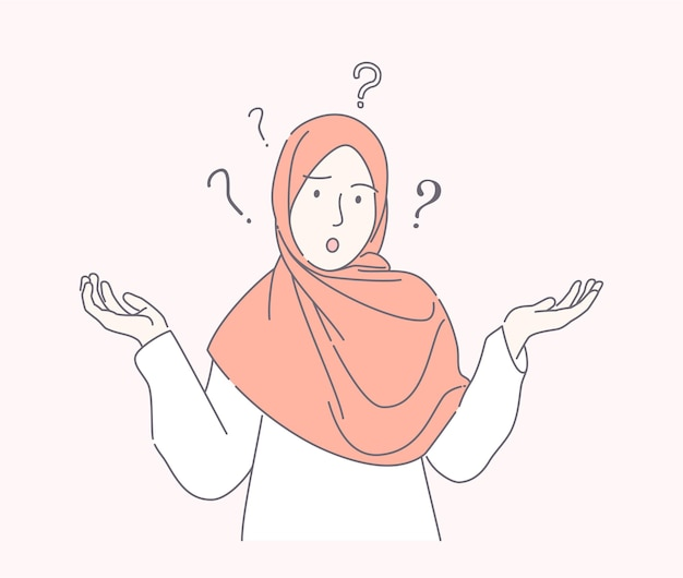 Jovem mulher muçulmana confundida estilo desenhado à mão, adolescente bonito com lenço espalha a mão com ponto de interrogação isolado.