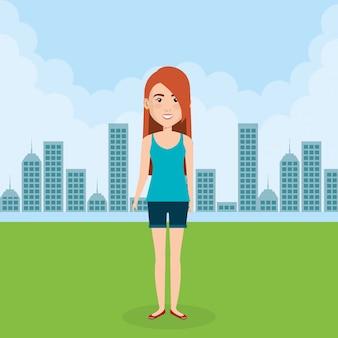 Jovem mulher na cena do personagem de campo