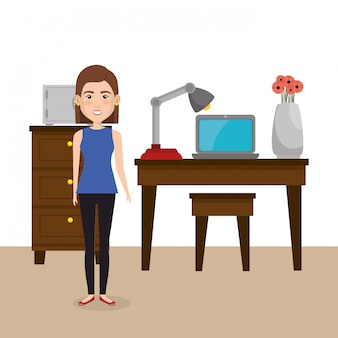 Jovem mulher na cena do personagem de escritório