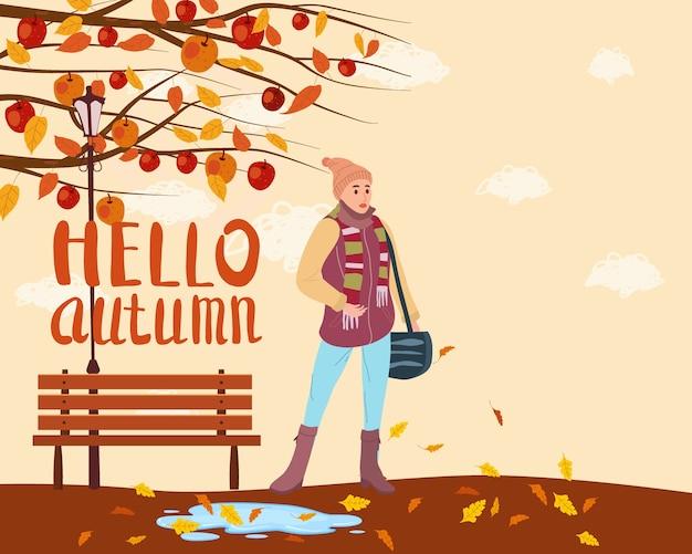 Jovem mulher na cidade de parque de outono, roupas da moda, estilo elegante de rua outwear feminino, humor de outono. letras olá outono