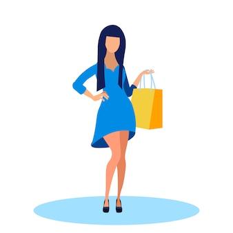 Jovem mulher na ilustração plana vestido elegante