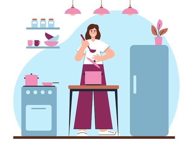Jovem mulher ou menina cozinhando na cozinha.