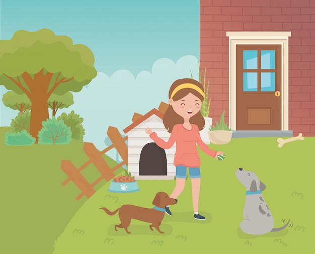 Jovem, mulher, pequeno, cachorros, mascotes, casa, jardim