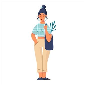Jovem mulher plana dos desenhos animados com sacola de compras, isolada no fundo branco. ilustração de cor de uma garota bonita hippie com roupa de moda casual. menina sorridente vestida com roupas elegantes