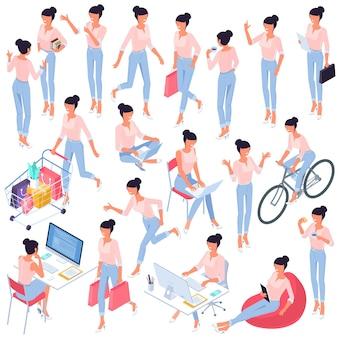 Jovem mulher poses e atividades design plano isométrico vetor pronto para animação conjunto de caracteres