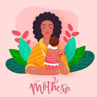 Jovem mulher que abraça seu infante e folhas para o conceito feliz do dia de mãe.