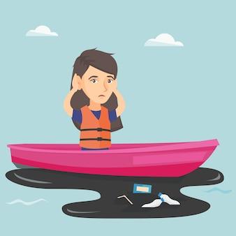 Jovem mulher que flutua em um barco na água contaminada.