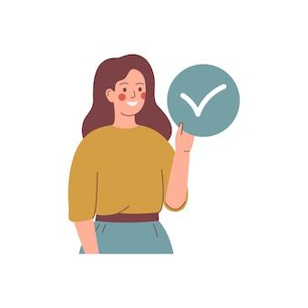 Jovem mulher segura o círculo com marca de aceitação. sim, conceito. ilustração.