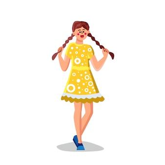 Jovem mulher segurando cabelos longos com tranças