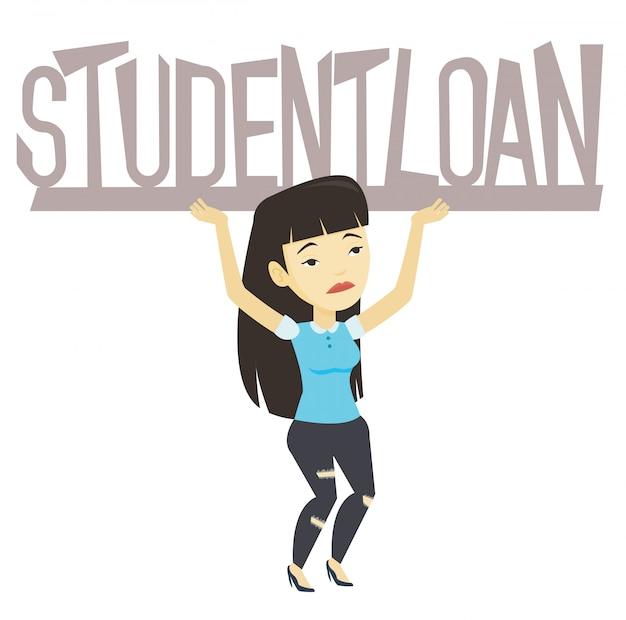 Jovem mulher segurando o sinal do empréstimo de estudante.