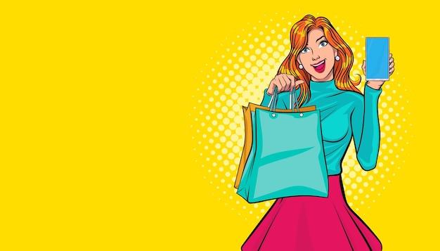 Jovem mulher segurando sacolas de compras e smartphone estilo pop arte em quadrinhos