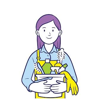 Jovem mulher segurando um balde de equipamentos de limpeza