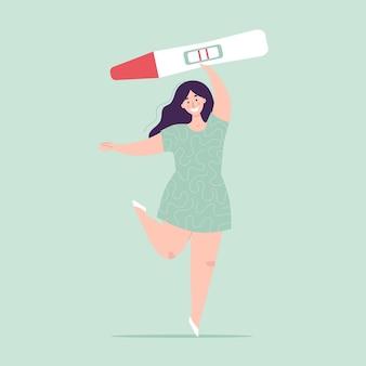 Jovem mulher segurando um grande teste de gravidez. resultado positivo, duas listras. conceito de planejamento de gravidez, dificuldades de concepção, fertilização. personagem feliz. ilustração vetorial plana