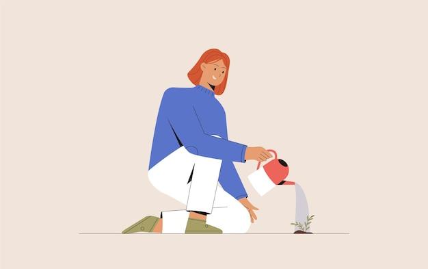 Jovem mulher segurando um regador, regando e cultivando uma planta