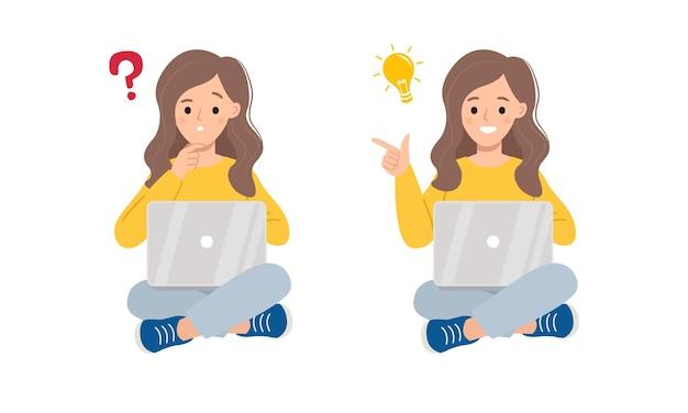 Jovem mulher sentada com laptop, pensando em um problema e mostrando o gesto de uma ideia.