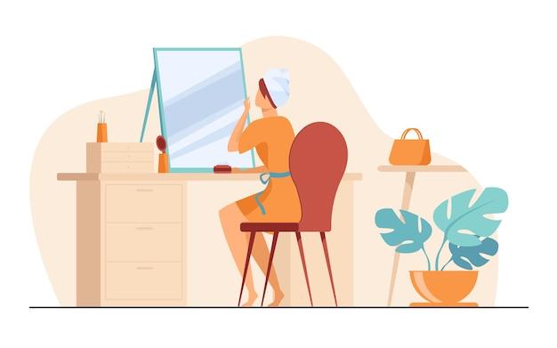 Jovem mulher sentada na frente da ilustração plana de espelho