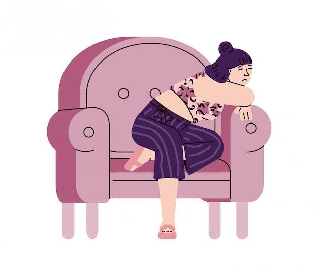 Jovem mulher sentindo solidão e tristeza, desenho ilustração