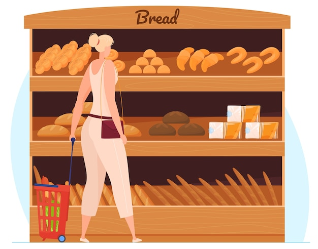 Jovem mulher sorridente em pé perto das prateleiras dos supermercados com alimentos. ilustração em vetor plana isolada