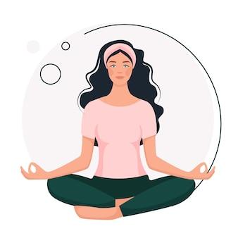 Jovem mulher sorridente, sentada em posição de lótus. aulas de ioga. no estilo cartoon