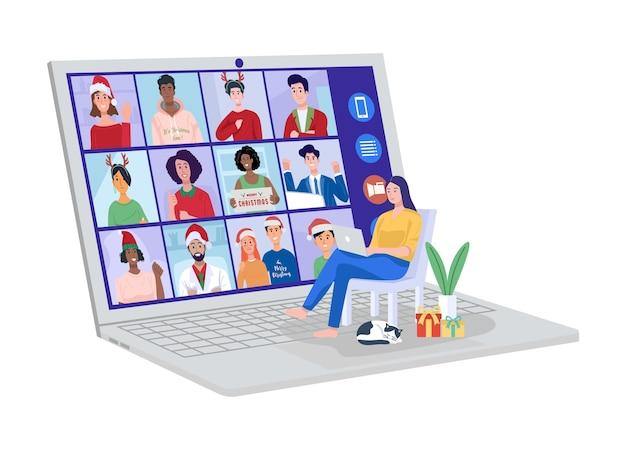 Jovem mulher tendo videoconferência no computador com seus amigos em casa.