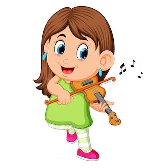 Jovem mulher tocando violino