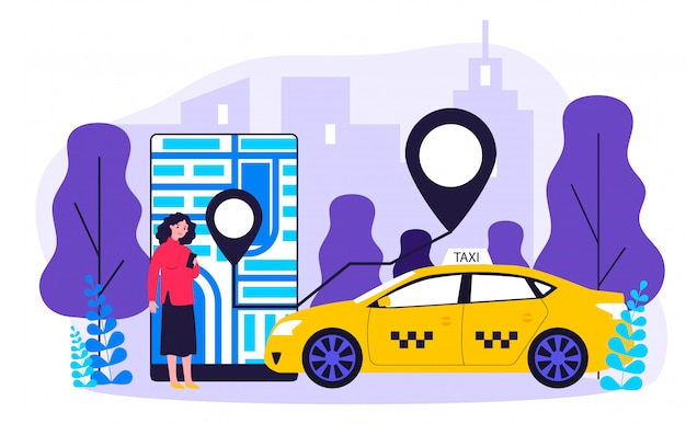 Jovem mulher tomando táxi via ilustração de aplicativo móvel