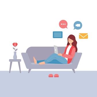 Jovem mulher trabalhando no computador portátil, trabalho de casa ilustração