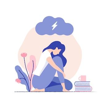 Jovem mulher triste, infeliz que senta-se sob a nuvem escura. psicologia, depressão, mau humor, estresse. Vetor Premium