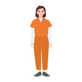 Jovem mulher triste vestida com uniforme laranja de prisioneiro, isolado no fundo branco. pessoa suspeita, criminosa condenada, presa ou punida. personagem de desenho animado plana feminina. ilustração vetorial