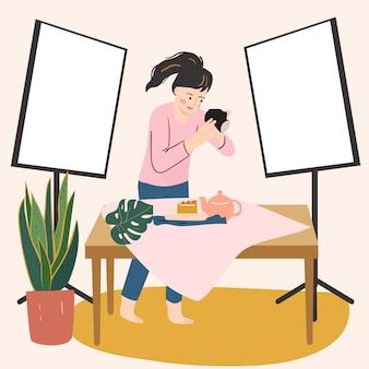 Jovem mulher usando a câmera. tira fotos em casa. passatempo feminino, atividade, profissão. conceito de criatividade em casa. mão ilustrações desenhadas.