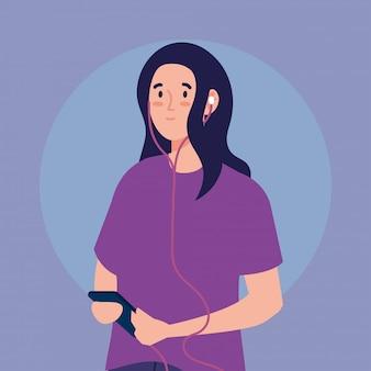 Jovem mulher usando fones de ouvido e smartphone ilustração design