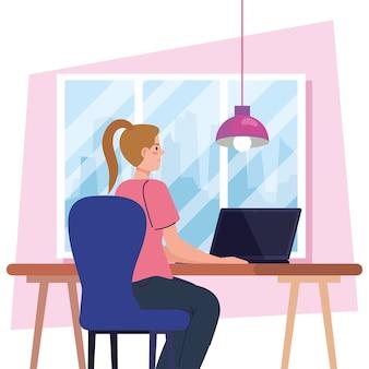 Jovem mulher usando laptop na mesa, trabalhando ilustração online