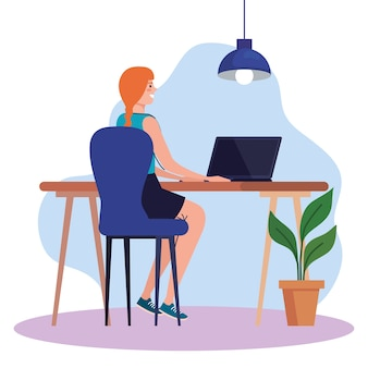 Jovem mulher usando o laptop na mesa, trabalhando ilustração do conceito on-line