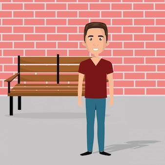Jovem na cena do personagem cadeira