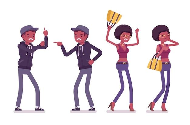 Jovem negro e mulher com emoções negativas