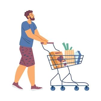Jovem no supermercado com carrinho de compras completo de produtos alimentícios, uma ilustração vetorial