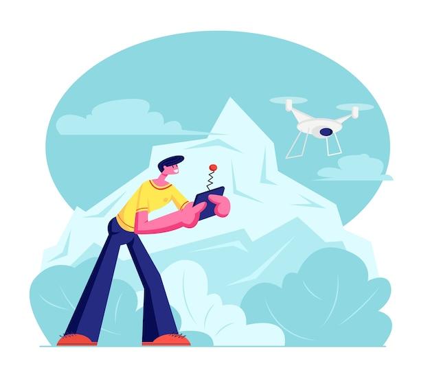 Jovem observando e navegando com um drone voador no céu