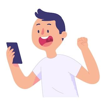 Jovem olhou para o celular que ele estava segurando com um rosto surpreso e animado