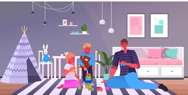 Jovem pai brincando com crianças pequenas em casa paternidade conceito de paternidade pai passando tempo com seus filhos ilustração vetorial horizontal de corpo inteiro