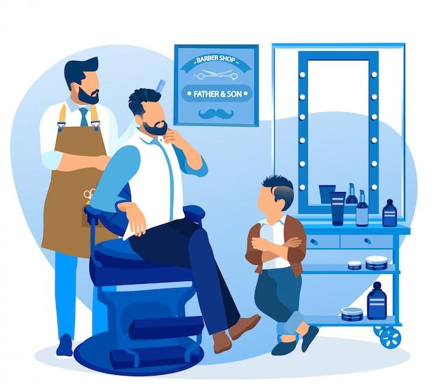 Jovem pai e filho a visitar o salão de beleza de barbeiro