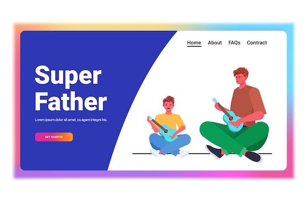 Jovem pai ensinando filho a tocar guitarra conceito de paternidade pai passando tempo com seu filho horizontalmente