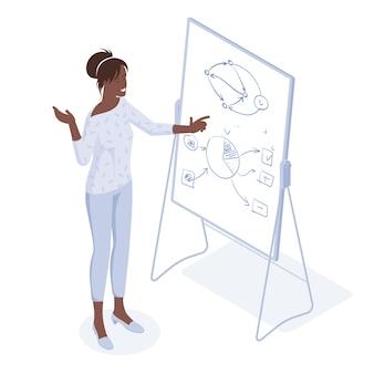 Jovem palestrante afro-americano treinando um conceito isométrico de design plano de treinamento