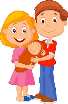 Jovem, par adulto, ternamente, abraçar, seu, bebê